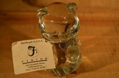 "Fenton Glass 3"" Tall Bear Figurine Crystal Birthstone March - Aquamarine w/ TAG"
