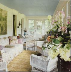 Bunny Williams ~ her Connecticut home - different slipcovers in pastel?