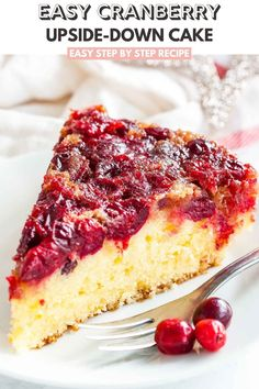 Cranberry Upside Down Cake has a perfectly balanced flavor and looks so festive and vibrant. A gorgeous cake made with fresh cranberries that's perfect for the holidays! Easy Cake Recipes, Brownie Recipes, Sweet Recipes, Baking Recipes, Cranberry Upside Down Cake, Cranberry Cake, Christmas Desserts, Fun Desserts, Dessert Recipes