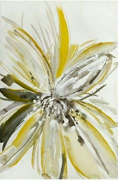 Yellow and Gray Abstract Flower Art, Flower Painting Canvas, Abstract Drawings, Diy Canvas Art, Yellow Artwork, Yellow Painting, Easy Painting Projects, Grey Art, Art Pictures