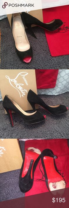 Authentic! Peep toe louboutins size 6 Authentic, preloved, black suede Christian louboutins, size 6, still have a lot of life left! If you're dying for a pair of red bottoms then these are the ones for you at a franc toon of the price! Selling shoes only. Check out my closet for more designer items! Tags; prada, Gucci, jimmy Choo, Louis Vuitton, lululemon, Chanel, door, Celine, Hermes, so late, pigalle, Iriza Christian Louboutin Shoes Heels
