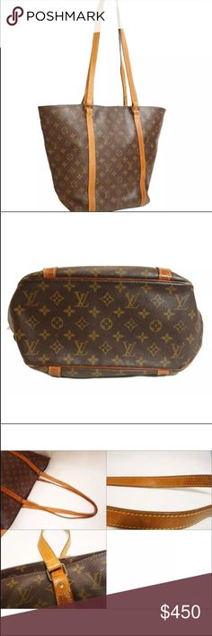"""Authentic Louis Vuitton Shopping Sac Tote This Sac Shopping tote by LV is the perfect everyday shoulder bag! Made from monogram coated canvas with cowhide leather trim and handles. Very similar in shape to the neverfull. The open interior is lined with brown canvas and has one slide pocket. Hardware tarnished, leather aging, wear on handles. 20"""" by 13"""". Louis Vuitton Bags Totes"""
