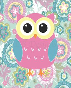 Pink, Teal and Yellow Girl's Owl Bedroom or Girl's Owl Nursery by LJBrodock, $10.00 Girl's woodland nursery, girl's nursery decor, girl's owl nursery