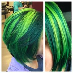 green hair with green highlights ❤ liked on Polyvore featuring hair