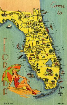 Vintage Florida Tourist Map Curt Teich Vintage by VintagePackRat Vintage Florida, Old Florida, Florida Travel, Florida Beaches, Florida Maps, Florida Girl, Florida Tourism, Florida Camping, Florida Woman