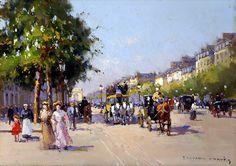 Champs Élysées, Clemenceau by Edouard Leon Cortes - 13 x 18 inches Signed Edouard cortes edouard cortez edouardo cortes edouardo cortez paris street scene