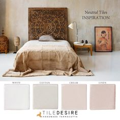 Here we have a nice combination of whites. All of them from the GLOSSY COLOUR PALETTE by Tile Desire. Taking a beautiful picture as inspiration we propose this mood board inspired in CALMING WHITES. #white #cotton #cream #linen #handmade #terracotta www.tiledesire.com