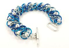 Multitone Blue and Silver Chainmaille by AndrassidyDesigns on #Etsy #jewelryonetsy #bestofetsy #beading
