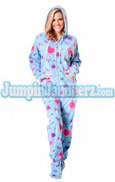 d505d507c1 Blue Lollipops Hooded Adult Pajamas Adult Pajamas