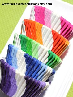 Rainbow Lollipop Cupcake Liners Baking by thebakersconfections, via Etsy.