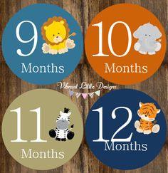 Monthly Baby Stickers Boy Milestone by VibrantLittleDesigns