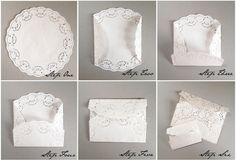 DIY: Lace Paper Doily Envelopes Today we have a cute and simple tutorial for you to try…. Diy Lace Paper, Paper Lace Doilies, Doilies Crafts, Envelope Tutorial, Diy Envelope, Diy Lace Envelopes, Doily Wedding, Wedding Cards, Diy Invitations