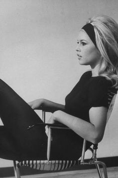 Beauty Ideal 60s. Brigitte Bardot, Movie star icon. Black and white Fashion Photography. 1960s.