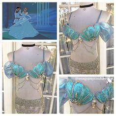 Can't decide between being a princess or a mermaid? Why pick one when you can have both!! ✨✨ Our gorgeous Princess Cinderella mermaid bra is one of the few premades still available on our Etsy shop! The details on this piece are truly stunning  Princess Tiana and Slave Jasmine are also still available so you and your besties can slay Halloween together!