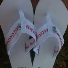 DIY baseball flip flops....buy white banded (cotton) flip flops...red embroidery thread....& stitch on baseball seams.  tada!  baseball flippy floppys...  OR...buy the plastic/rubber type & use a  sharpie or paint pen.....OR....buy the flip flop in your team color..then add the band of white material with the stitching on it, to it...they also sell ribbon you could use& then stitch that on.  SO many ways to make these.....