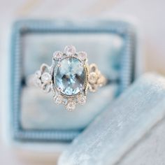 Pretty aquamarine ring from Claire Pettibone x Trumpet & Horn // photo by Renee Hollingshead