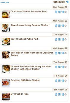 Weekly Meal Plan - Crock Pot Recipes!