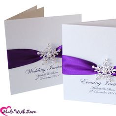 Snowflake Purple Wedding Invitations & Winter Purple Stationery - Different color than purple though.