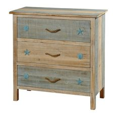 This 3 Drawer Chest made of fir wood solids and MDF. Finished in a pastel blue, brown finish, with seashore motif. Finished back panel and drawer interiors. Three Drawer Dresser, 3 Drawer Chest, Chest Of Drawers, Beach Cottage Style, Beach Cottage Decor, Coastal Decor, Coastal Dresser, Side Table Decor, Home Furniture Online