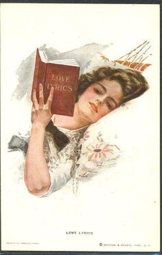 "HL107 a/s Harrison FISHER ""LOVE LYRICS"" FEMME LIVRE HAMAC LADY HAMMOCK BOOK"