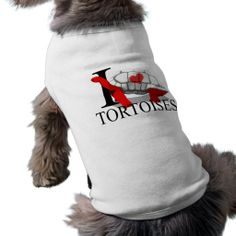 """I Love Tortoises Doggie's Dog Clothes Instead of the ordinary design of """"I Heart Tortoises"""", the 'Heart' is changed to a striking illustration of a red tortoise. A bit of trivia: The tortoise is the third member of the Chelonian family – along with turtles and terrapins."""