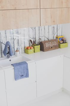 Keittiö/Kitchen Scandinavian home Woods-wallpaper Decor, Wood, Scandinavian Home, Furniture, Storage Bench, Kitchen, Wood Wallpaper, Home Decor, Kitchen Cabinets