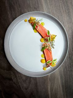 Ora King salmon, citrus, and herbs by chef Matt Lambert. © Signe Birck. - See more at: http://theartofplating.com/editorial/awakening-the-spirit-of-new-zealand-with-matt-lambert-at-the-musket-room/#sthash.OPBepvZv.dpuf