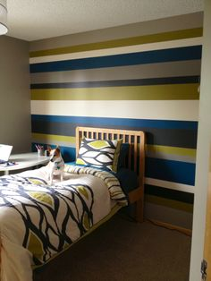 Striped walls - Since I've gotten so many pins on this...I thought some of you might like the colors I used:   BEHR ULTRA @ HOME DEPOT ~ Cracked Pepper (UL260-1) Elephant Skin (UL260-5) Retro Avocado (UL200-20) Bermudan Blue (UL230-21) Artist Canvas (UL150-8)