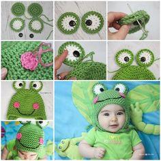 Cute Crochet Frog Hat -- Perfect for a boy or a girl. http://wonderfuldiy.com/wonderful-diy-cute-crochet-frog-hat-with-free-pattern/