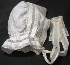 Vintage Child's White Bonnet with Filet Lace by VictorianWardrobe, $20.00