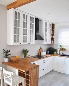 35 suprising small kitchen design ideas and decor 23 - Küche Ideen Home Decor Kitchen, Interior Design Kitchen, New Kitchen, Kitchen Dining, Kitchen Cabinets, White Cabinets, Small Kitchen Designs, Small Kitchen Plans, Compact Kitchen
