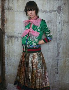 I am Mei Mei - Mae Mei Lapres by Stefan Khoo for L'Officiel Malaysia, April 2016 - Gucci Spring 2016 Hippie Style, Hippie Boho, Boho Fashion, High Fashion, Couture Coats, Gucci Spring, Embroidered Bomber Jacket, French Models, Bow