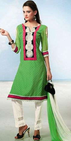 $58.38 Green Embroidered Cotton Churidar Salwar Kameez 25561