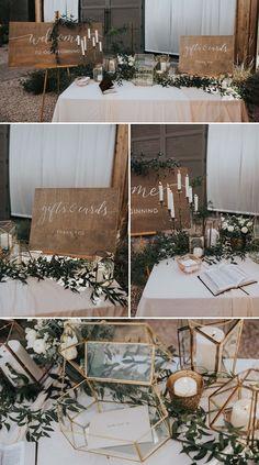 This elegant geometric card table decor is perfect in this boho desert wedding | Image by Jonnie + Garrett Wedding Photographers