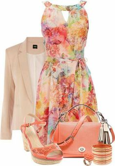84 Breathtaking Floral Outfit Ideas for All Seasons - Is there anyone who does not adore flowers and their breathtaking beauty? Flowers are among the most beautiful things created by God and can be found . Mode Outfits, Dress Outfits, Casual Outfits, Fashion Outfits, Womens Fashion, Floral Outfits, Floral Dresses, Peach Outfits, Orange Outfits