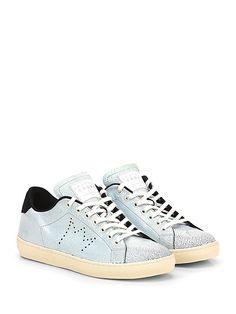 Leather Crown - Sneakers - Uomo - Sneaker in pelle effetto crack con suola in gomma. Tacco 30, platform 20 con battuta 10. - PERLA\NERO