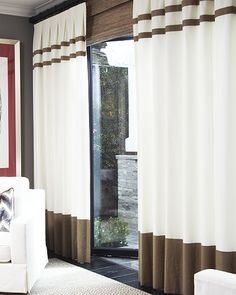 Here's another set of drapes that would look great in white with sand trim.  Hampton Linen Custom Drapery