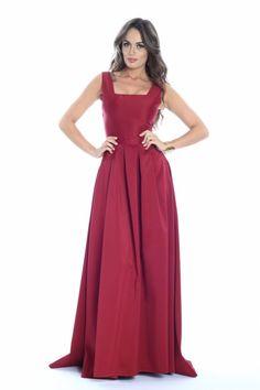 rochie lunga tafta visinie - rochii de seara lungi