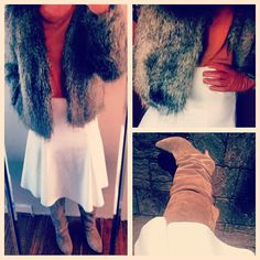 Faux fur, boots and white midi skirt