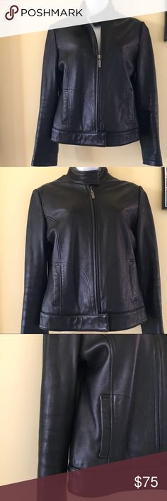 Calvin Klein black leather jacket S Perfect condition size Small Calvin Klein Jackets & Coats