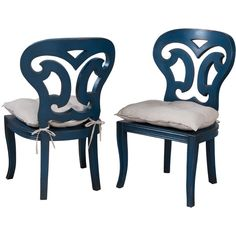 Deep Blue Side Chairs ($1,295) ❤ liked on Polyvore featuring home, furniture, chairs, dining chairs, dark blue chair, colored dining chairs, colored furniture, hand carved furniture and pair chairs