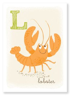 L is for Lobster - alphabet print on Etsy Alphabet Print, Weird And Wonderful, Little People, Fun Projects, Lobsters, Art For Kids, Handmade Gifts, Creative, Illustration
