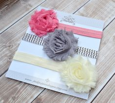 On Sale!  Baby headband set -  dusty rose headband, gray chevron headband, ivory headband - vintage headband set by PinkPoppiesDesigns on Etsy https://www.etsy.com/listing/172544044/on-sale-baby-headband-set-dusty-rose