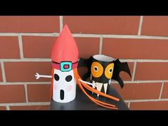 DIY Ghost and Bat from Paper Tube Roll. How to Make Halloween Crafts from Recycled Materials. - YouTube