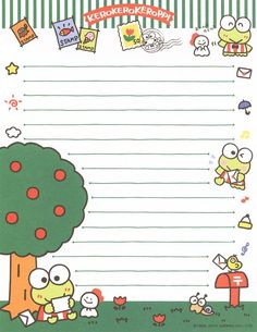 Writing Papers Pen Pal Letters, Cute Letters, Keroppi Wallpaper, Free Printable Stationery, Memo Notepad, Cute Notes, Hello Kitty Wallpaper, Kawaii Stationery, Letter Set