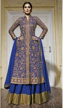 Royal Blue Color Net Fabric Ladies Disigner Stitched Suit with Dupatta…