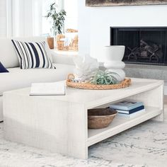 Faux Bone Rectangular Coffee Table Sectional Coffee Table, Tiled Coffee Table, Painted Coffee Tables, Coffee And End Tables, Decorating Coffee Tables, Coffee Tables For Sectionals, Williams Sonoma, Console Design, Square Side Table