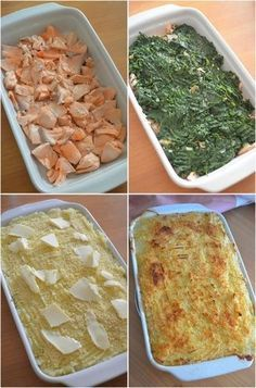 Salmon pie with spinach - Sihamea - - Parmentier de saumon aux épinards Salmon pie with spinach Batch Cooking, Healthy Cooking, Healthy Dinner Recipes, Snack Recipes, Food Porn, B Food, Salmon Pie, Salty Foods, Fish Dishes