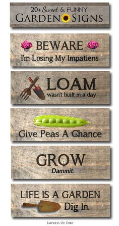 Sweet and funny garden signs | love a sense of humour in the garden #spon