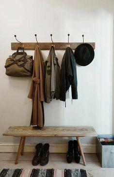 Holzbank Wandgarderobe Design Schuhe Aufbewahrungskorb
